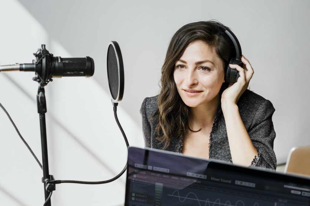 Businesswoman interviewed for a podcast